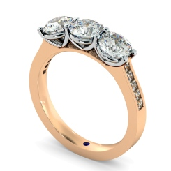 HRXTR190 3 Round Diamonds Trilogy Ring - rose
