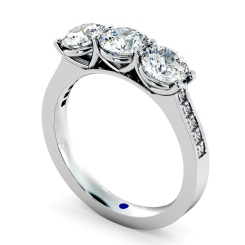 HRXTR190 3 Round Diamonds Trilogy Ring - white