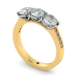 HRXTR190 3 Round Diamonds Trilogy Ring - yellow