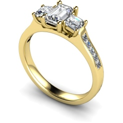 HRXTR191 Emerald & Princess 3 Stone Diamond Ring - yellow