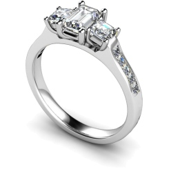 HRXTR191 Emerald & Princess 3 Stone Diamond Ring - white