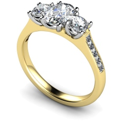 HRXTR193 Oval & Round 3 Stone Diamond Ring - yellow