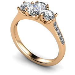 HRXTR193 Oval & Round 3 Stone Diamond Ring - rose