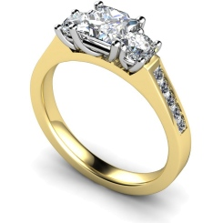HRXTR194 Princess & Round 3 Stone Diamond Ring - yellow