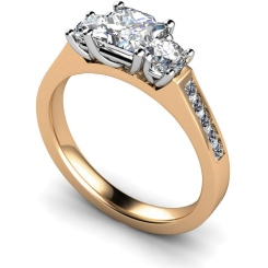 HRXTR194 Princess & Round 3 Stone Diamond Ring - rose