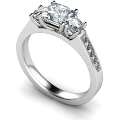 HRXTR194 Princess & Round 3 Stone Diamond Ring - white