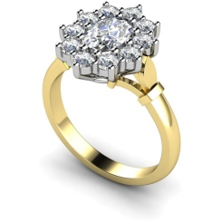 HRXTR239 Oval Cluster Diamond Ring - yellow