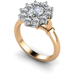 HRXTR239 Oval Cluster Diamond Ring - rose