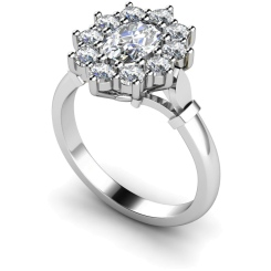 HRXTR239 Oval Cluster Diamond Ring - white