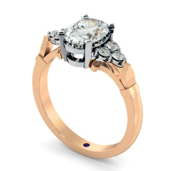 HRXTR243 Oval Cluster Diamond Ring - rose