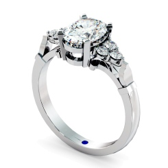 HRXTR243 Oval Cluster Diamond Ring - white