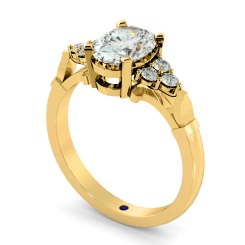 HRXTR243 Oval Cluster Diamond Ring - yellow