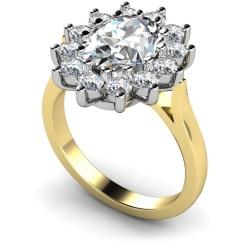 HRXTR246 Oval Cluster Diamond Ring - yellow