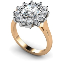 HRXTR246 Oval Cluster Diamond Ring - rose