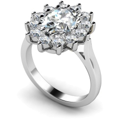 HRXTR246 Oval Cluster Diamond Ring - white