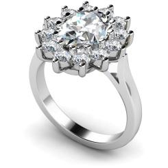HRXTR246 Oval Cluster Diamond Ring - white