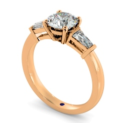 HRXTR94 Round & Baguettes 3 Stone Diamond Ring - rose