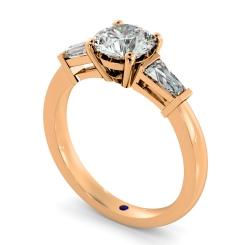 HRXTR94 Round & Baguettes 3 Stone Diamond Ring - rose