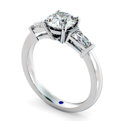 HRXTR94 Round & Baguettes 3 Stone Diamond Ring - white