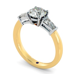 HRXTR94 Round & Baguettes 3 Stone Diamond Ring - yellow