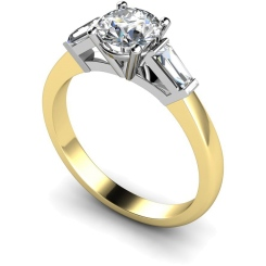 HRXTR97 Round & Baguettes 3 Stone Diamond Ring - yellow