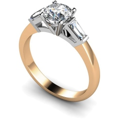 HRXTR97 Round & Baguettes 3 Stone Diamond Ring - rose