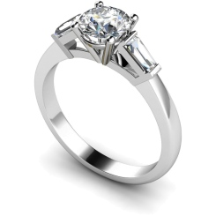 HRXTR97 Round & Baguettes 3 Stone Diamond Ring - white