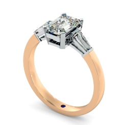 HRXTR98 Emerald & Baguettes 3 Stone Diamond Ring - rose