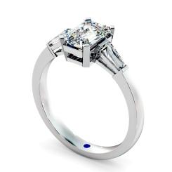 HRXTR98 Emerald & Baguettes 3 Stone Diamond Ring - white