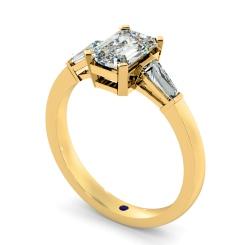 HRXTR98 Emerald & Baguettes 3 Stone Diamond Ring - yellow