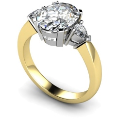 HRXTR99 Oval & Pear 3 Stone Diamond Ring - yellow