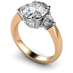 HRXTR99 Oval & Pear 3 Stone Diamond Ring - rose