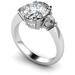 HRXTR99 Oval & Pear 3 Stone Diamond Ring - white
