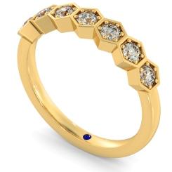 OKDA Round cut Vintage Half Eternity Diamond Ring - yellow