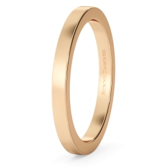 HWNA217 Flat Wedding Ring - 2mm width, Medium depth - rose