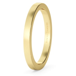 HWNA217 Flat Wedding Ring - 2mm width, Medium depth - yellow