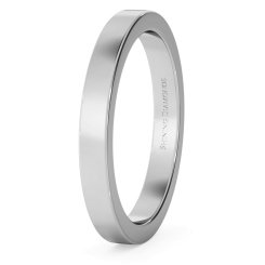HWNA2517 Flat Wedding Ring - 2.5mm width, Medium depth - white