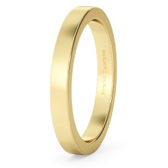 HWNA2517 Flat Wedding Ring - 2.5mm width, Medium depth - yellow