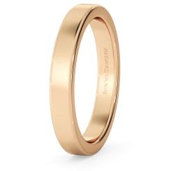HWNA317 Flat Wedding Ring - 3mm width, Medium depth - rose
