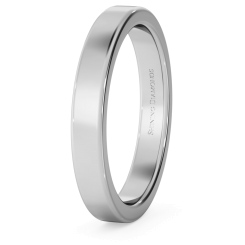 HWNA317 Flat Wedding Ring - 3mm width, Medium depth - white