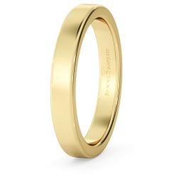HWNA317 Flat Wedding Ring - 3mm width, Medium depth - yellow