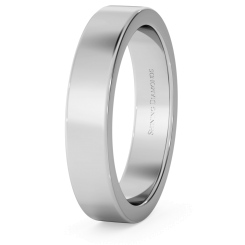 HWNA417 Flat Wedding Ring - 4mm width, Medium depth - white