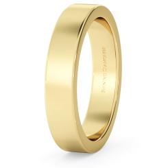 HWNA417 Flat Wedding Ring - 4mm width, Medium depth - yellow