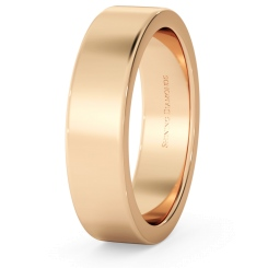 HWNA517 Flat Wedding Ring - 5mm width, Medium depth - rose