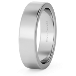 HWNA517 Flat Wedding Ring - 5mm width, Medium depth - white