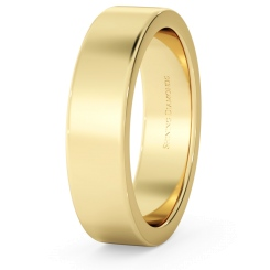 HWNA517 Flat Wedding Ring - 5mm width, Medium depth - yellow