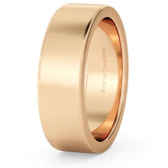 HWNA617 Flat Wedding Ring - 6mm width, Medium depth - rose