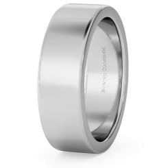 HWNA617 Flat Wedding Ring - 6mm width, Medium depth - white