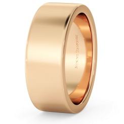 HWNA717 Flat Wedding Ring - 7mm width, Medium depth - rose