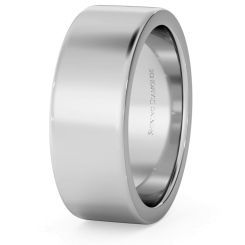 HWNA717 Flat Wedding Ring - 7mm width, Medium depth - white